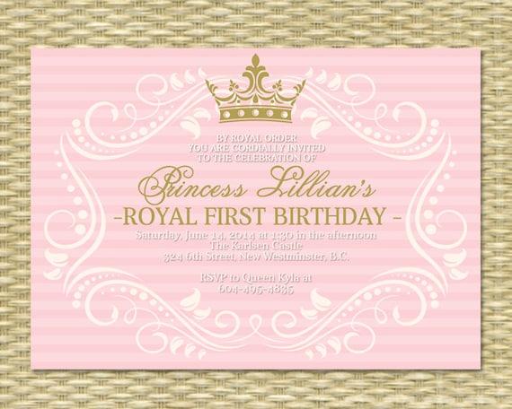 Princess First Birthday Invitation Royal Baby Girl Shower - Royal birthday invitation template
