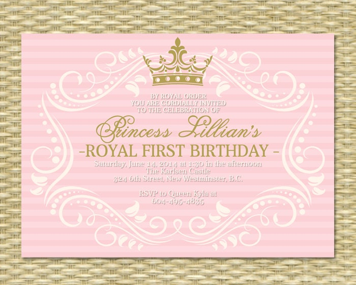 Princess first birthday invitation royal baby girl shower zoom filmwisefo Images