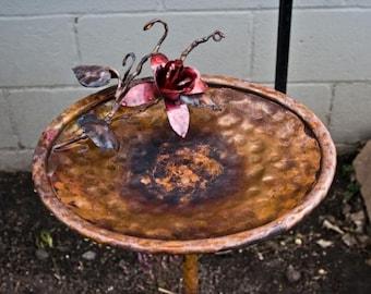 Copper Rose bird bath