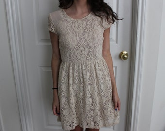LOWER PRICE Beige Floral Lace Dress