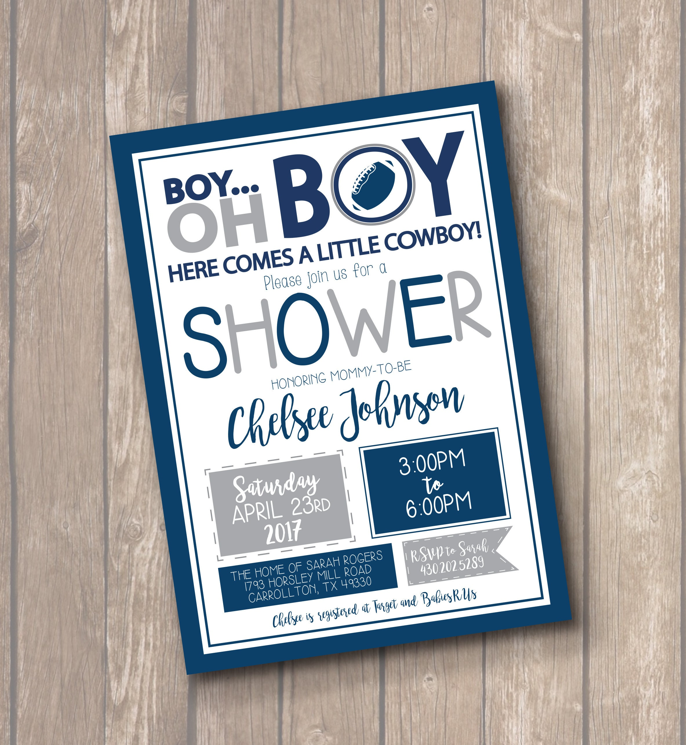 Cowboys Inspired Baby Shower Invitation FREE SHIPPING