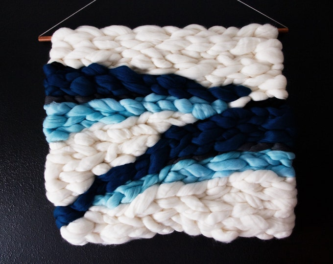 Blue & White Roving Wall Hanging