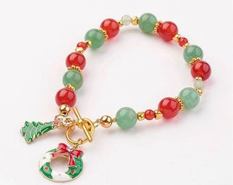 Christmas Beaded with Charms Gold Bracelet