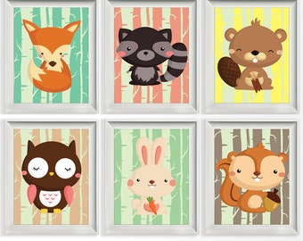 115-120 Woodland Animals | Woodland Nursery | Fox Owl Bunny | Wall Print Nursery Decor | Choose Your Size | jpg & pdf file PRINTABLE
