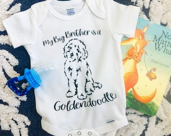 Goldendoodle Big Brother and Sister White Cotton Onesie, Newborn Baby Clothing Shower Gift, Big Brother Sister Dog,Little Brother or Sister