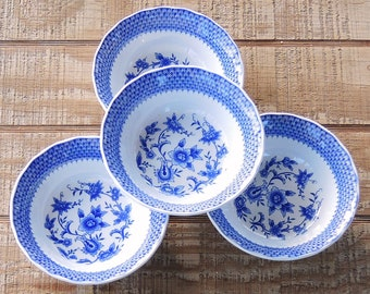 Atkins Ming Blue Coupe Cereal Bowls Set of 4 Blue White China Dessert Bowls Salad Bowls Replacement China Made in Japan