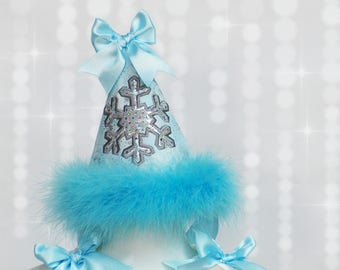 Winter Onderland 1st Birthday Party Hat - Snowflake Birthday Cap