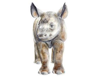 Animal Wall Art - Baby Rhino - Safari Nursery Print - Baby Animal - Rhinoceros Art - Baby Rhinoceros - Safari Animal - Animal Print - Rhino