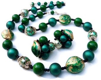 Vintage Green and Gold Lucite Japan Necklace & Cluster Earring Set  Demi Parure