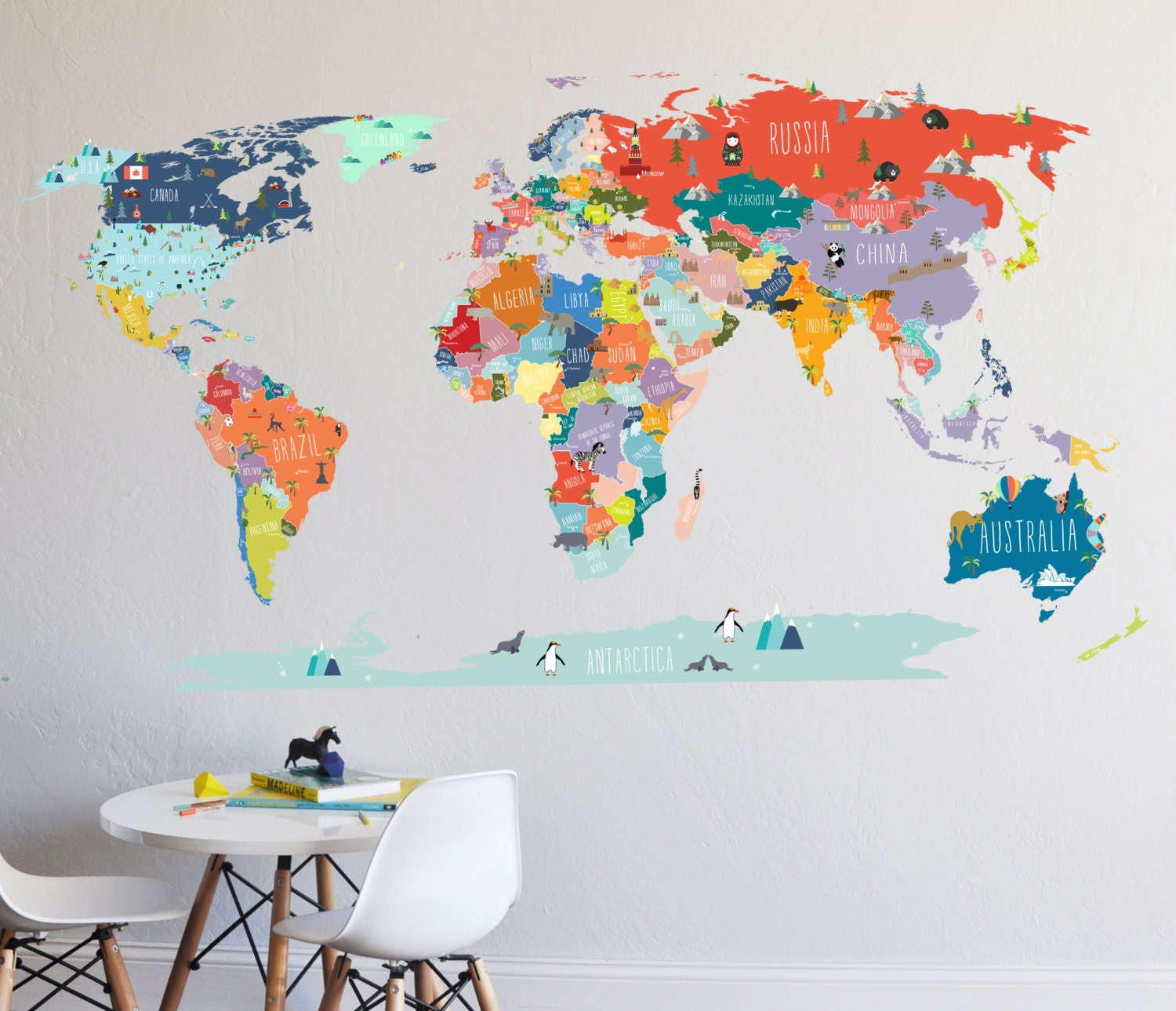Wall decal world map interactive map wall sticker room zoom gumiabroncs Image collections