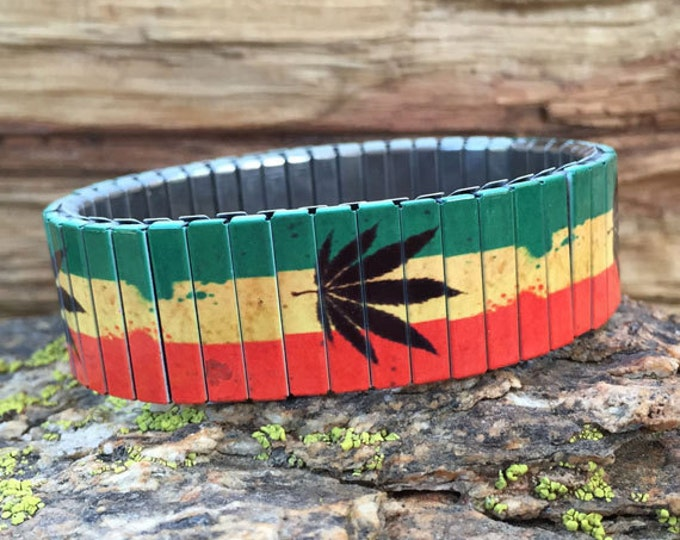 Bracelet RASTAFARIAN, Marijuana, Stainless Steel, Repurpose Watch Band, Stretch Bracelet, Wrist Band, Sublimation, Rasta, gift for friends