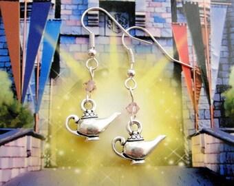 Aladdin lamp earrings - Magic lamp earrings - fairy tale earrings - sterling silver Swarovski crystals