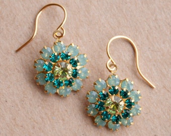 AQUA, TURQUOISE and GREEN Crystal Flower Earrings