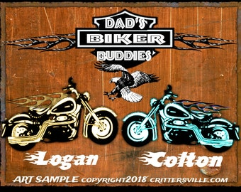 DAD'S BIKER BUDDIES Harley Inspired Biker Personalized T Shirt for Dad \ Papa! Kid's Names Added Free! All Sizes Sm-3XL MotorCycle Tee 4 Him