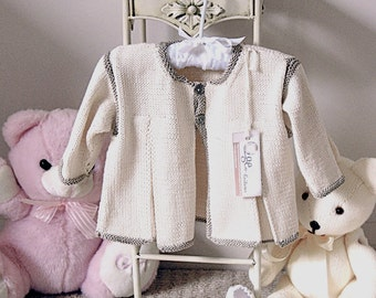 KNITTING PATTERN-Baby jacket with front pleats P003