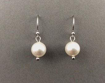 Pearl Earings Bridal Pearl Earrings With White Swarovski Crystal Pearls