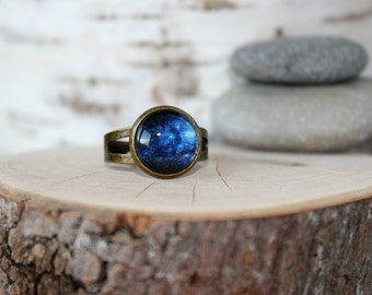 Star Night Space Ring, Galaxy Ring, Adjustable Ring, Antique Bronze Ring, Glass Cabochon, Galaxy Jewelry