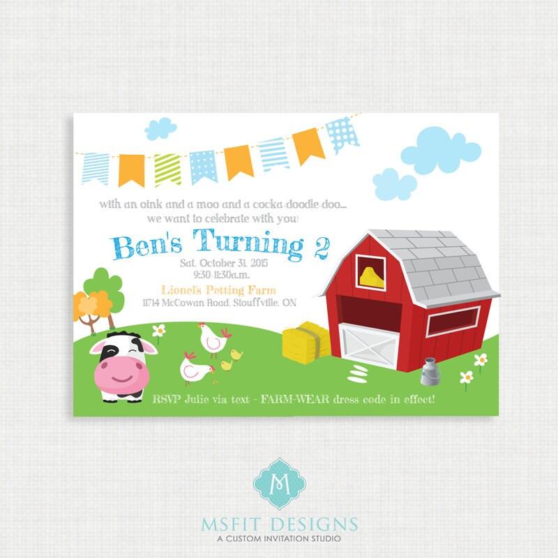 Printable Birthday Invitation- Farm Birthday Invitation, Farm ...