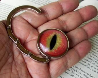 Dragon Eye Hanger (H606), Purse or Bag Hook, Hand Painted Glass Eye, Orange Gold Sparkle