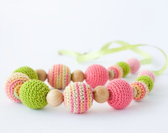 Teething / Breastfeeding Necklace in Pink and Chartreuse - Babywearing, Teething Jewelry, Baby Shower Gift, New Mom - FrejaToys