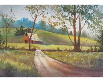 Barn painting ORIGINAL watercolor landscape country rural art Splattered 10x14