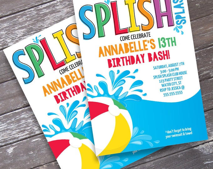Pool Party Invitation - Slip n' Slide Party, Beach Party, Summer Birthday, Self-Editing | DIY Editable Text INSTANT DOWNLOAD Printable