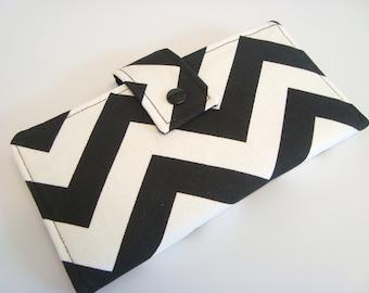 BiFold Long Wallet Clutch /Checkbook Cover - Balck and White Chevron Zig Zag