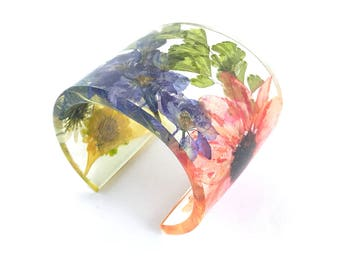 Modern Botanical Eco Resin Cuff with Everything!  Wide Bracelet with Personalized Engraving. Chunky Contemporary Resin Jewelry