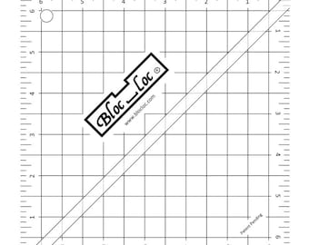 """Bloc-Loc 6.5"""" Inch Ruler - Half Square Triangle Ruler - Square Up Ruler for HST - Quilting Tool"""