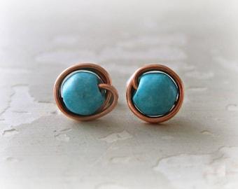 Copper Turquoise Stud Earrings, Southwestern Earrings, Wire Wrap Stud Earrings, Turquoise Jewelry, Copper Stud Earrings, Studs Turquoise