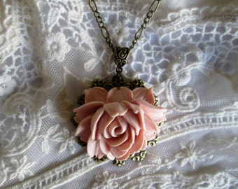 Boho Rose Blush Victorian Pendant,Gift Giving Ready,Fresh Vintage Blooms,Easy Dress up For Your Everyday! Gift For Her,Romantic,Timeless