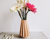 """Geometric and minimalist Vase """"ORIGAMI"""" design hygge printed in wood / home decor / weeding decor / gift idea for her Mother's day"""