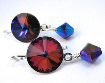 Swarovski Crystal Earrings, Volcano Swarovski Earrings in Silvertone Setting