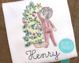 Christmas Shirt / Boy Hanging Star Embroidery / Vintage Christmas Embroidery / Christmas Tree / Boy Christmas Shirt / Boy Christmas Tree