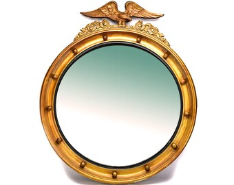 LARGE Antique Gold Eagle Porthole Mirror - Nautical Decor - Maritime Ship Porthole Wall Mirror - Wood Foyer Mirror - Federal Americana Decor