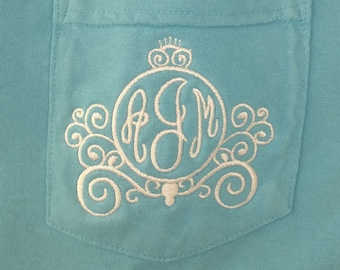 Monogrammed Shirt, Cinderella's Carriage, Short Sleeve Comfort Colors, Embroidered Pocket Tee Shirt, Disney Princess, Disney Vacation
