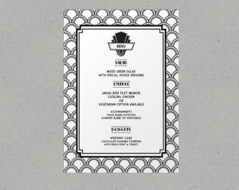 Art Deco Wedding Menu Personalised