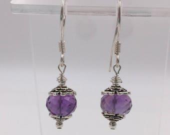 Amethyst Rondelles Earrings set on Sterling Silver