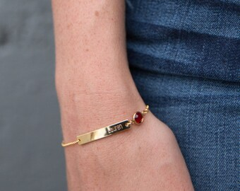 Bridesmaid Birthstone Bracelet - Birthstone Bar Bracelet Gold