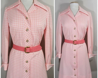 1960s David Crystal Pink Houndstooth Dress // Pink and Cream Houndstooth Dress// 1960s