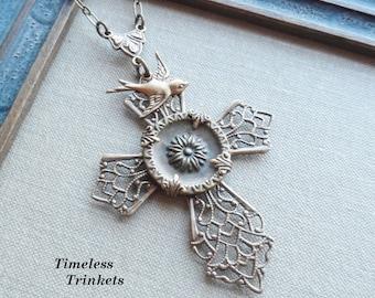 Antique Button Necklace, Filigree Cross, Sunflower Design, Slight Green Tint, Dove, Antique Brass, Timeless Trinkets