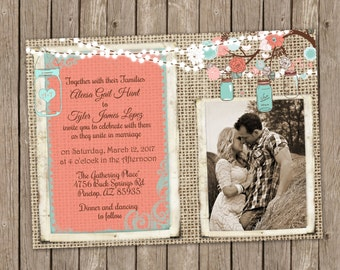 Coral and Turquoise Wedding Invitation, Mason Jar Wedding, Floral, String of Lights, Burlap Invitation, Bridal Invitation