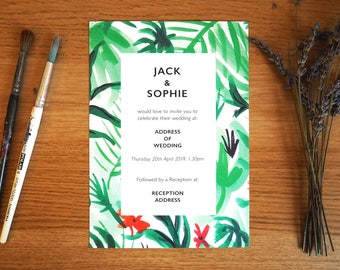 Wedding Invitation   Tropical Design *SAMPLE*