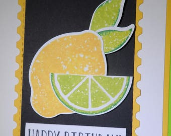 Happy Birthday -- Greeting Card -- Handmade Card -- Lemon Card