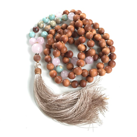 POSITIVE VIBRATIONS MALA - African Opal Mala Beads -  Sandalwood Mala Necklace - Mala To Help Feel Self-worth - 108 Beads Mala - Yoga Beads