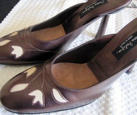 Made in Italy Slide Shoes, Mario Bologna Bronze Leather, Tan Cutwork,  Sz 7 1/2 Pump