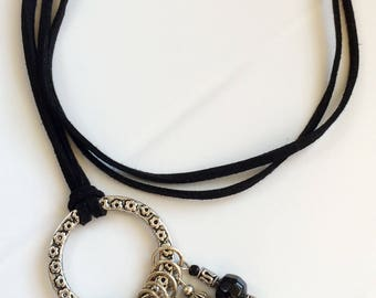 Charm Necklace, Pendant, Suede Cord Necklace, Black and Silver Necklace, Metal Charms, Glass Beads, Birthday Gift