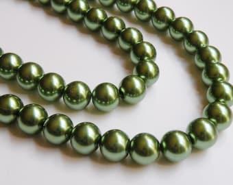 Olive green glass pearl beads round 12mm full strand 2029GL