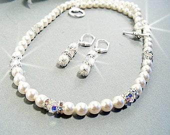 Brautschmuck Set, Halskette Ohrringe, Perlen, Strass, Hochzeitsschmuck, Braut-Accessoires, zierliche Braut, Perlen Schmuck, Brautjungfer