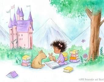 Storybook Castle - Black Girl Reading to Baby Bear and Bunny - Art Print for Nursery